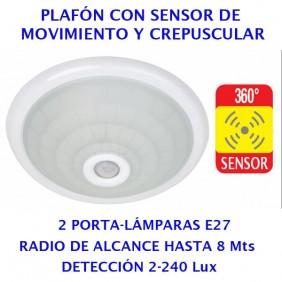 Plafón Sensor Mov. y Crepuscular 360º