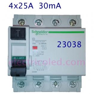 I. Diferencial 4P 25A/30mA (Schneider)