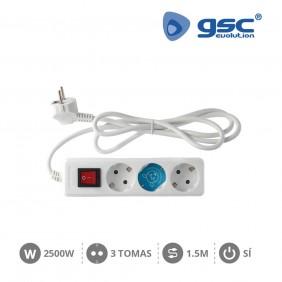 Base 3 Schuko con Interruptor y Cable
