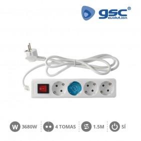 Base 4 Schuko con Interruptor y Cable