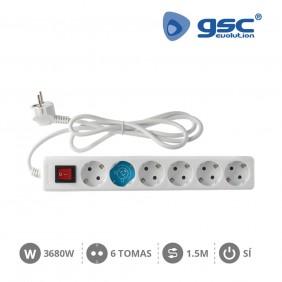 Base 6 Schuko con Interruptor y Cable