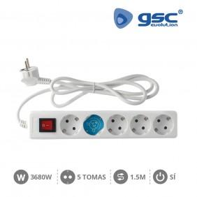 Base 5 Schuko con Interruptor y Cable
