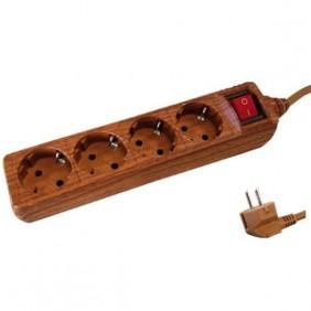 Base 4 Enchufes + Interruptor + 1'5 Mts. MADERA
