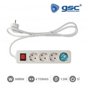 Base 3 Schuko + Interruptor + 1.5mts MEGA