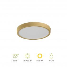 Plafón Led Ø 23cm aro Oro 20w Luz día