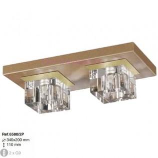 Plafón Cristal Optico 2xG9